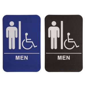 ADA Sign 6 x 9 Blue or Black White Men Male with wheelchair Accessible Restroom Sign