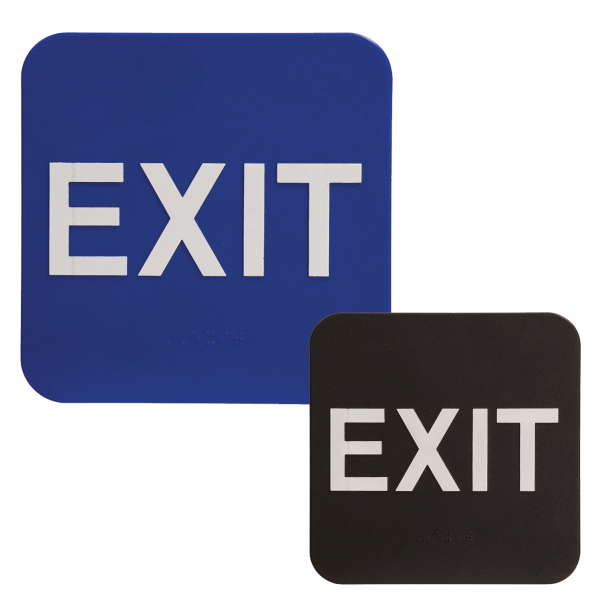 EXIT Braille ADA Sign - 6 x 6 - Blue or Black