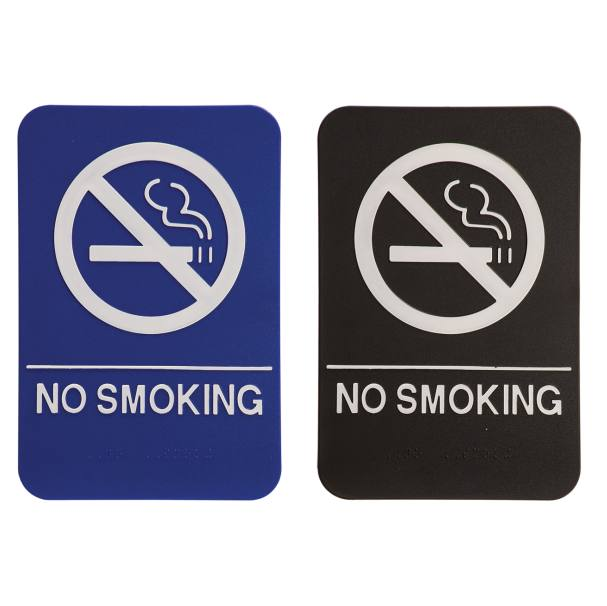 NO SMOKING Braille ADA Sign - 6 x 9 - Blue or Black