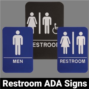 Restroom ADA Signs Black or Blue
