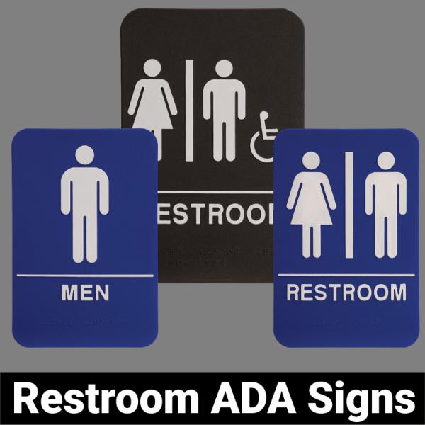 Restroom ADA Signs Black or Blue