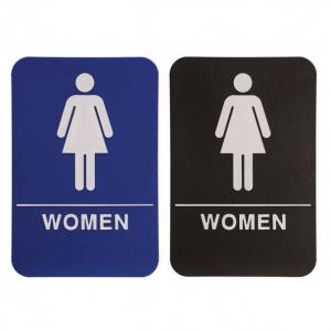 Restroom Braille ADA Sign – Female Women – 6″ x 9″ – Blue or Black