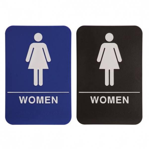 Restroom Braille ADA Sign – Female Women – 6″ x 9″ – Blue or Black