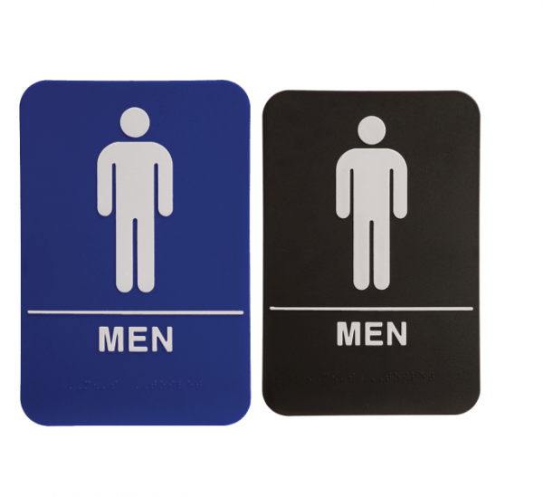 Restroom Braille ADA Sign – Male Men – 6″ x 9″ – Blue or Black