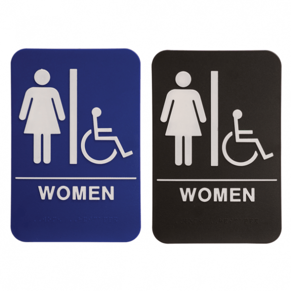 Restroom Braille ADA Sign with Wheelchair – Female Women – 6″ x 9″ – Blue or Black