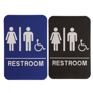 Restroom Braille ADA Sign with Wheelchair – Unisex – 6″ x 9″ – Blue or Black