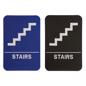 Stairs Braille ADA Sign - 6 x 9 - Blue or Black