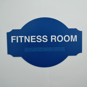 Blue fitness Room Saturn Custom Shaped Braille ada signs