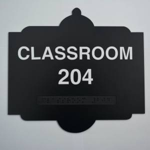 Bellview Shaped sign - Classroom 204 Black Braille sign