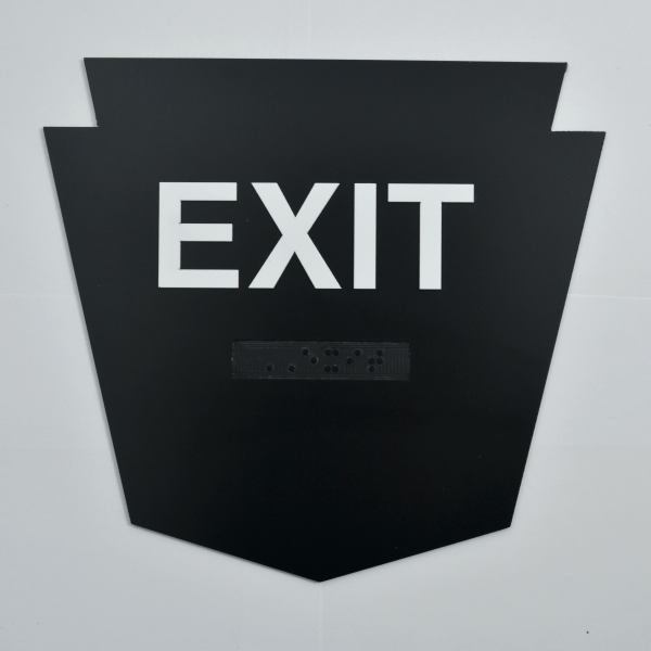 Arrowhead shaped - Exit Badge Custom shaped ADA Signage