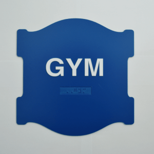 Aurora Shaped - Gym blue braille sign