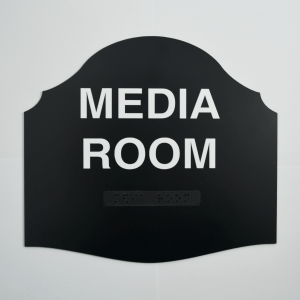 Pemberly's Guest Shaped - Media Room Black Braille Sign
