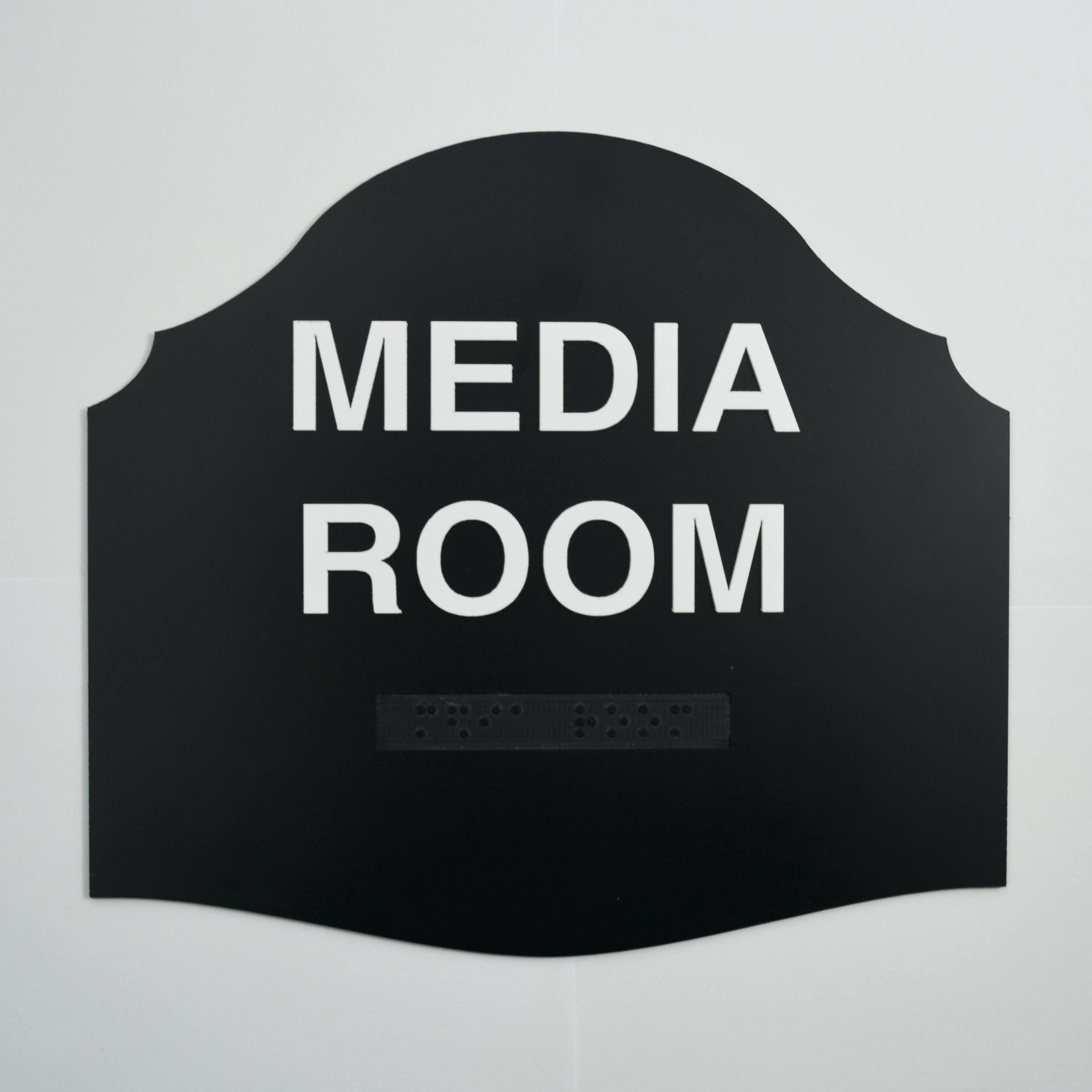 Media Room Black Braille Sign