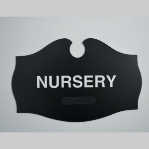 Nursery Teardrop ADA Black sign