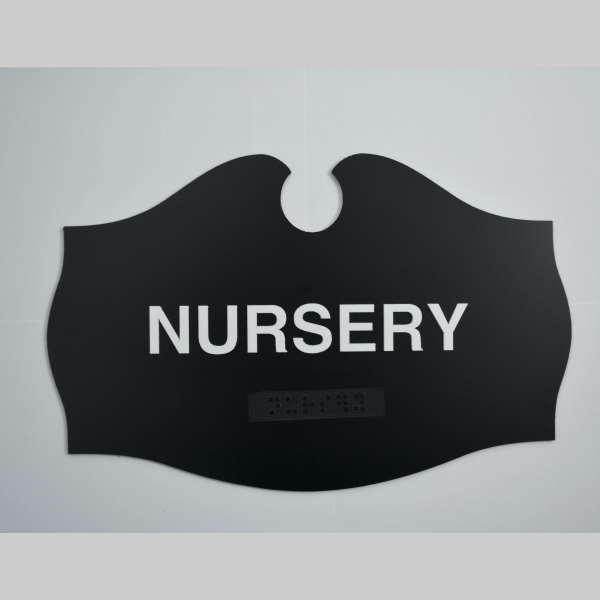 Angels Wings Shaped - Nursery Teardrop ADA Black sign
