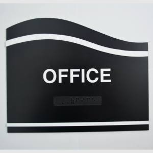 Office wave black custom ada sign