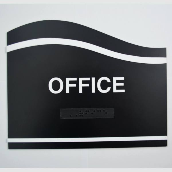 Water Wave (Left) shaped - Office wave black custom ada sign