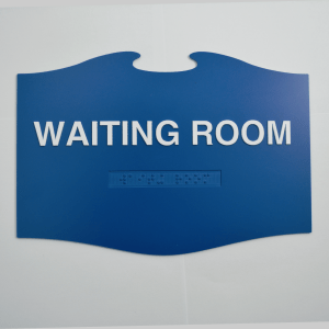 Waiting Room Blue Angel in Flight Custom Braille ADA shape Sign